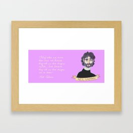 Neil Gaiman Portrait + Coraline Quote Framed Art Print