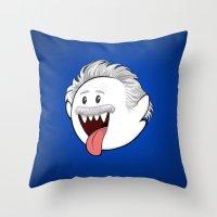 boob Throw Pillows featuring Boo Einstein by Olechka