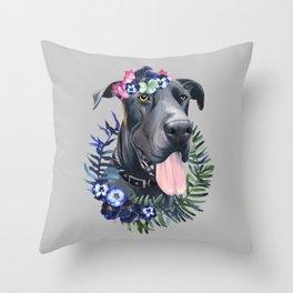 Flower power great Dane Throw Pillow