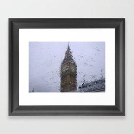 Big Ben through a glass on a rainy day Framed Art Print