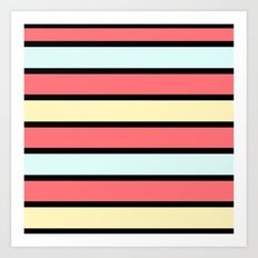 Color band 70's - Formica Stripe Art Print
