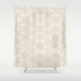 Golden Geo Stars Shower Curtain