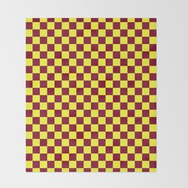 Electric Yellow and Burgundy Red Checkerboard Throw Blanket