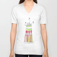 cake V-neck T-shirts featuring Cake by Stefania Morgante