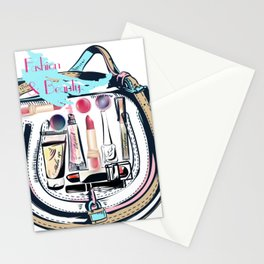 fashion vector illustration, female bag full of cosmetic for make up Stationery Cards