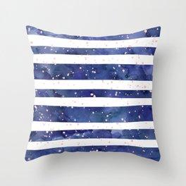 Navy blue watercolor stripes blush pink splatters Throw Pillow