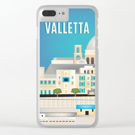Valletta, Malta - Skyline Illustration by Loose Petals Clear iPhone Case