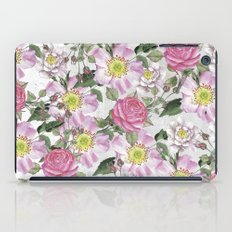 Vintage Rose Pattern Pink and White iPad Case