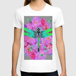 EMERALD DRAGONFLIES PINK ROSES GREY COLOR T-shirt