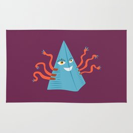 Weird Blue Pyramid Character With Tentacles Rug
