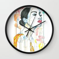 watercolour Wall Clocks featuring watercolour by Udya