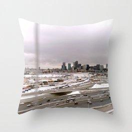 Denvers First Snow Throw Pillow