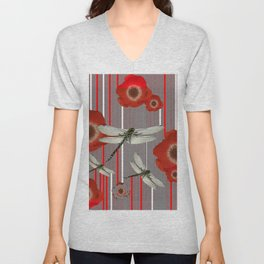 AWESOME DRAGONFLIES & RED POPPY FLOWERS ART Unisex V-Neck