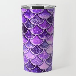 Pantone Ultra Violet Glitter Ombre Mermaid Scales Pattern Travel Mug