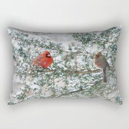 Snowy Branch Cardinals Rectangular Pillow