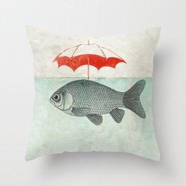 Umbrella Goldfish Throw Pillow