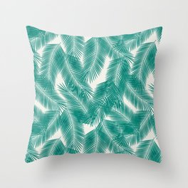 Green Tropical Palm Leaves Throw Pillow