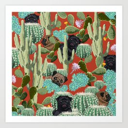 Cactus and Pugs Art Print