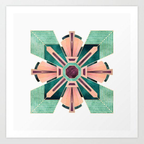 Art Deco Flower 1 Art Print
