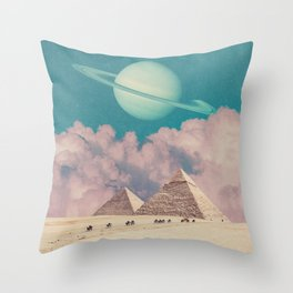 Pink Clouds - Space Aesthetic, Retro Futurism, Sci Fi Throw Pillow