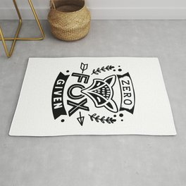 Zero fox given cute lettering - Funny hand drawn quotes illustration. Funny humor. Life sayings. Rug