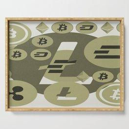 Ethereum, Bitcoin, Dash, Ripple, Litcoin pattern Serving Tray