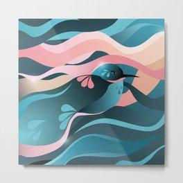 Humming Bird In Summer Vibes Color/ Vector Bird Lovers Metal Print