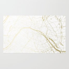 Paris Gold and White Street Map II Rug