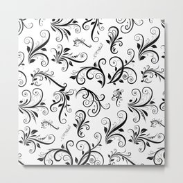 Venetian Damask, Ornaments, Swirls - Black White Metal Print