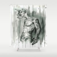 sphynx Shower Curtains featuring Hipster Sphynx by Psyca