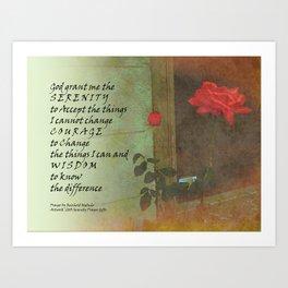 Serenity Prayer Rose and Door Art Print