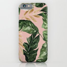 greenery and gold tropical leaves on faded pink iPhone Case