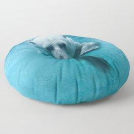 Polar Bear Swimming Floor Pillow
