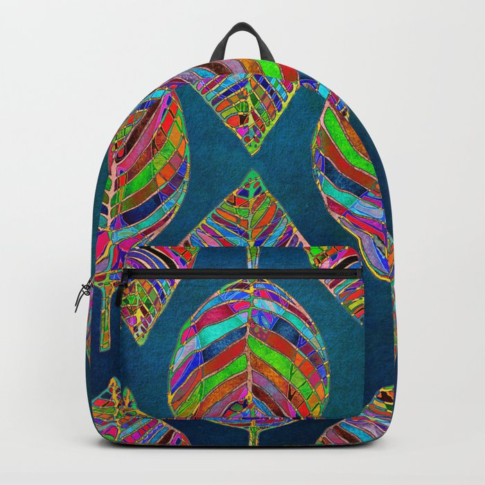 Multicolor Leaf Pattern Backpack