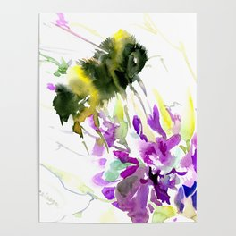 Bumblebee and Flowers floral bee design Poster