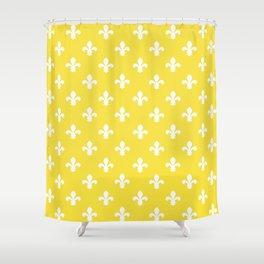 Butter Yellow Southern Cottage Fleur de Lys Shower Curtain