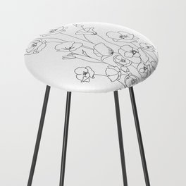 Poppy Flowers Line Art Counter Stool