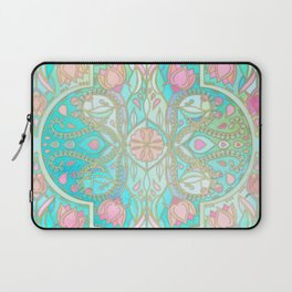 Floral Moroccan in Spring Pastels - Aqua, Pink, Mint & Peach Laptop Sleeve