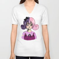 doll V-neck T-shirts featuring Doll by MintyMists