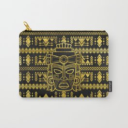 Gold  Aztec Inca Mayan Mask Carry-All Pouch