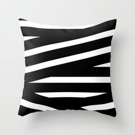 Abstract black & white Lines Stripes Pattern - Mix and Match with Simplicity of Life Throw Pillow