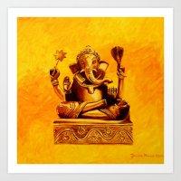 ganesha Art Prints featuring Ganesha by Ninamelusina