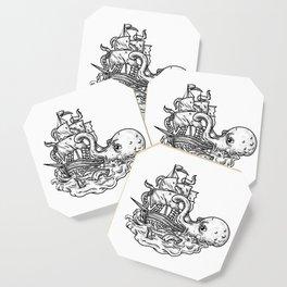 Kraken Attacking Ship Tattoo Grayscale Coaster