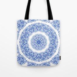 Blue White Floral Mandala Tote Bag