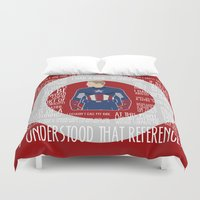 avenger Duvet Covers featuring The First Avenger by MacGuffin Designs