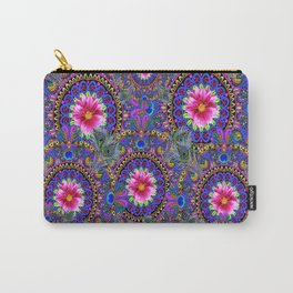 PINK & BLUE #2 PEACOCK MANDALAS WITH  FUCHSIA FLOWER ART Carry-All Pouch