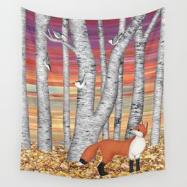 nuthatches and fox in the birch forest Wall Tapestry