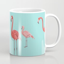 Flamingo Party in Aqua - flock of mingling flamingoes Coffee Mug