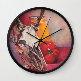 skull and pepper Wall Clock