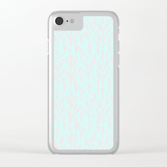 Merry christmas- abstract winter pattern with pink branch and snow Clear iPhone Case